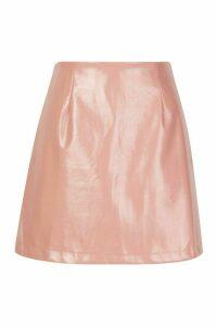 Womens Vinyl A Line Mini Skirt - pink - 16, Pink