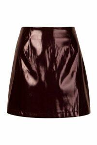 Womens Vinyl A Line Mini Skirt - purple - 16, Purple