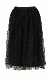 Womens Polka Dot Flocked Tulle Midi Skirt - black - 12, Black