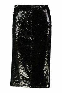 Womens Sequin Midi Skirt - black - 12, Black