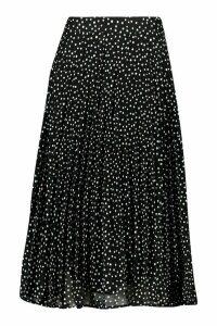 Womens Woven Polka Dot Print Midi Skirt - black - M, Black
