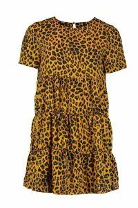 Womens Smock Animal Print Dress - yellow - 16, Yellow
