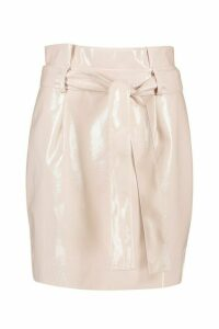 Womens Leather Look Pu Tie Waist Mini Skirt - pink - 14, Pink