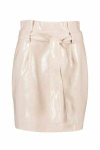 Womens Leather Look Pu Tie Waist Mini Skirt - pink - 16, Pink