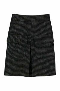 Womens Boucle Pocket Detail Short - black - 14, Black