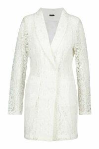 Womens Lace Blazer Dress - white - 14, White
