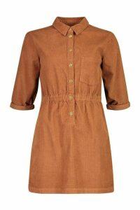 Womens Cord Button Dress - brown - 16, Brown