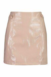 Womens Vinyl Button Detail Mini A Line Skirt - Beige - 14, Beige