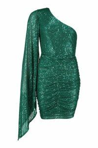 Womens One Shoulder Draped Mini Dress - green - 14, Green