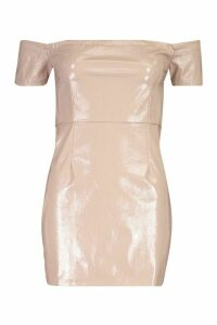 Womens Vinyl Off Shoulder Bodycon Mini Dress - Beige - 14, Beige