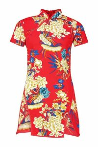 Womens High Neck Floral Mini Dress - red - 14, Red