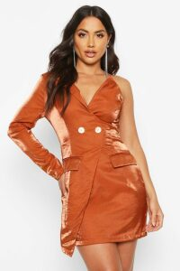 Womens Satin One Shoulder Blazer Dress - brown - 16, Brown