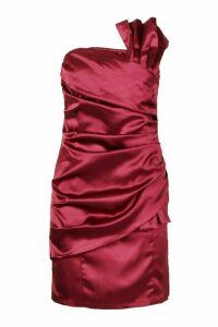 Womens Origami Pleated Satin Mini Dress - red - 14, Red