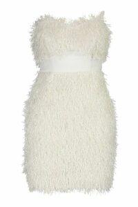 Womens Feather Bandeau Mini Dress - white - 12, White