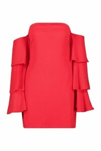 Womens Off Shoulder Ruffle Sleeve Mini Dress - red - 14, Red