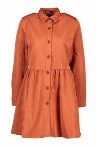 Womens Stripe Button Detail Shirt Dress - orange - 14, Orange