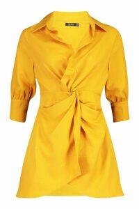 Womens Twist Front Shirt Dress - yellow - 14, Yellow