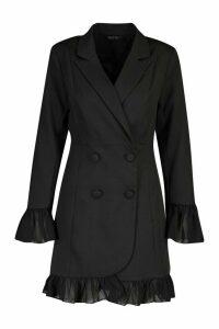 Womens Ruffle Hem Blazer Dress - black - 12, Black