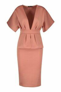 Womens Cape Plunge Midi Dress - pink - 12, Pink