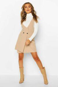Womens Pocket Front Pinafore Dress - beige - 14, Beige