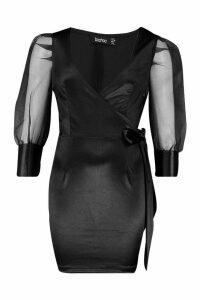 Womens Organza Ruffle Sleeve Mini Dress - black - 16, Black