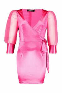 Womens Organza Ruffle Sleeve Mini Dress - Pink - 16, Pink