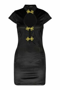 Womens Frogging Detail Stretch Satin Mini Dress - black - 8, Black