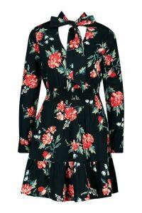 Womens Woven Floral Print Tie Detail Midi Dress - black - 14, Black