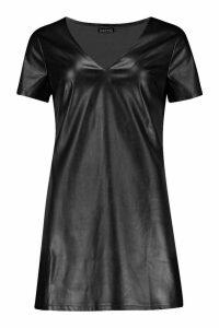 Womens PU Plunge Shift Dress - black - 14, Black