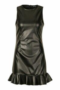 Womens PU Sleeveless Ruffle Hem Dress - black - 16, Black