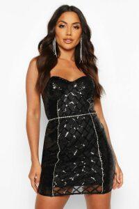 Womens Sequin Diamonte Trim Check Cupped Mini Dress - black - 14, Black