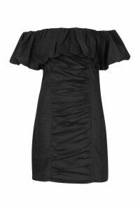 Womens Extreme Ruffle Off Shoulder Mini Dress - black - 12, Black