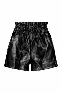 Womens Pu Paper Bag Shorts - black - 10, Black