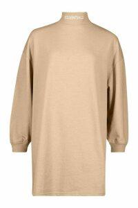 Womens Essentials Embroidered Funnel Neck Sweat Dress - beige - 14, Beige