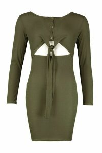 Womens Long Sleeved Popper Front Tie Detail Dress - green - 12, Green