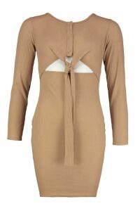 Womens Long Sleeved Popper Front Tie Detail Dress - brown - 14, Brown