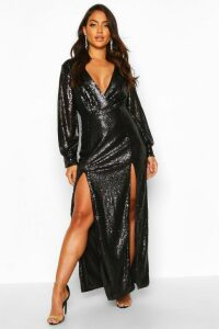 Womens Sequin Wrap Double Split Maxi Dress - black - 14, Black