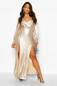 Womens Sequin Wrap Double Split Maxi Dress - Beige - 14, Beige