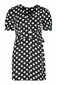 Womens Woven Polka Dot Pocket Detail Shift Dress - black - 12, Black