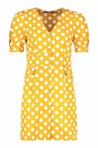 Womens Woven Polka Dot Pocket Detail Shift Dress - yellow - 10, Yellow