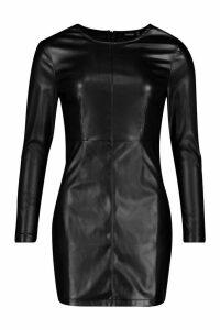 Womens PU Long Sleeve Mini Dress - black - 14, Black