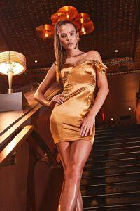 Womens Stretch Satin Pleat Cupped Bardot Mini Dress - metallics - 6, Metallics