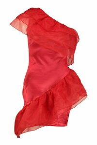 Womens Stretch Satin Mesh Extreme Ruffle - red - 14, Red