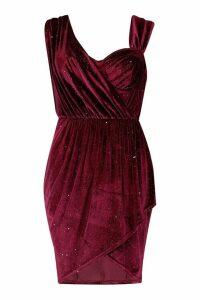 Womens Sparkle Velvet Off Shoulder Drape Mini Dress - red - 12, Red