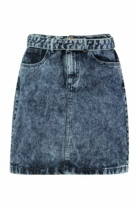 Womens Acid Wash Belted Denim Mini Skirt - blue - 16, Blue