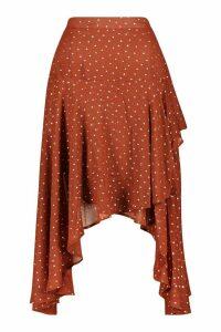 Womens Layered Metallic Polka Dot Midi Skirt - orange - 16, Orange