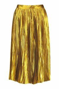 Womens Pleated Satin Midi Skirt - yellow - 14, Yellow