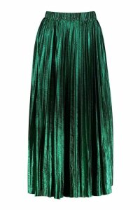 Womens Pleated Metallic Midi Skirt - green - 16, Green