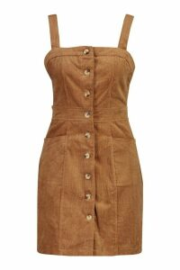Womens Button Front Cord Dress - brown - 6, Brown