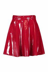 Womens Vinyl Full Skater Skirt - red - 16, Red